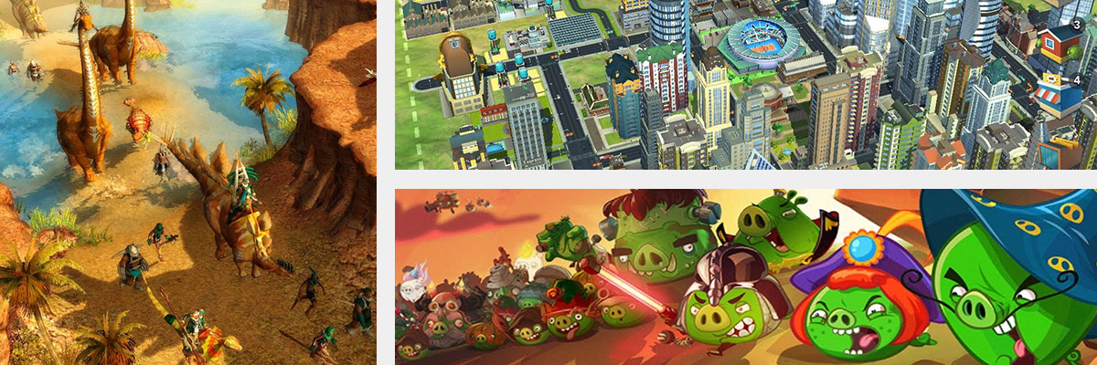 SimCity, Angry Birds Epic, Paraworld